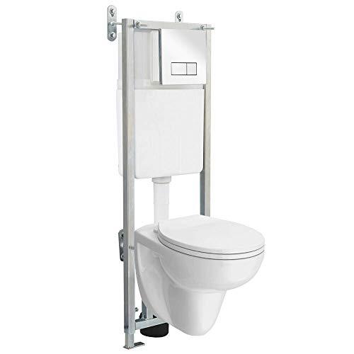 BGS technic PRO+ - Struttura WC regolabile da parete, con doppio scarico e cassetta a incasso, cromata, 1,1 m