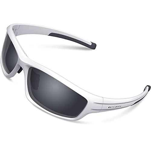 Gafas de sol polarizadas deportivas para hombres y mujeres Ciclismo Running Pesca Golf TR90 Marco irrompible TR011 (lente blanco/negro y gris)