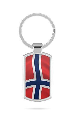 Schlüsselanhänger mit Gravur Wunschtext Name Norwegen Fahne
