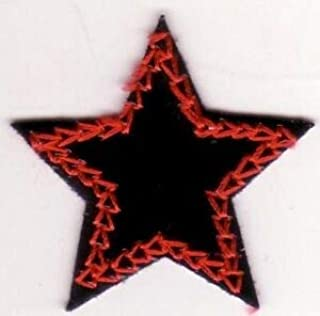 Black Vinyl Red Star Embroidery Applique Patch Great for Hats, Backpacks, and Jackets.