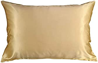 Celestial Silk 100% Silk Pillowcase for Hair Zippered Luxury 25 Momme Mulberry Silk Charmeuse Silk on Both Sides of Cover -Gift Wrapped- (King, Gold)