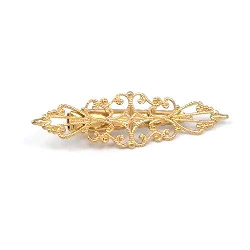 CADANIA Klassische Aushöhlen Blumenkrone Antike Entenschnabel Haarspangen Womens Metallic Hairgrips DIY Zubehör Glitter Vintage Carving Barrettes Gold