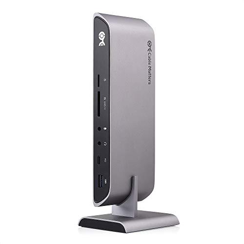 Cable Matters USB C Dock for Windows - Dual 4K DisplayPort, 80W Charging, UHS-II SD Card Slot, 10Gbps USB-A/USB-C, Gigabit Ethernet - Thunderbolt 3 Port Compatible USB C Docking Station