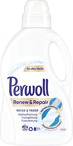 Perwoll Renew & Repair Weiß & Faser Flüssigwaschmittel (für weiße Wäsche) 1er Pack (1 x 24 Waschladungen)