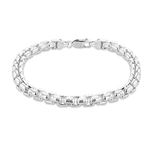 Tuscany Silver Men's Sterling Silver 6.5mm Rolo Chain Bracelet 21.5cm/8.5'