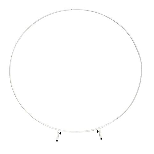 TTIK 8.2Ft (2.5M) Large Size Wrought Iron Round Ring Arch Backdrop, Metal Balloon Arch Stand Kit- Round for Garden Indoor Outdoor Party Decoration,White,2m(6.5ft)