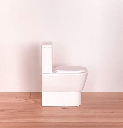 Macy Mae 1:12 Scale Dollhouse Toilet. Miniature Doll House Bathroom Accessory with Opening Lid