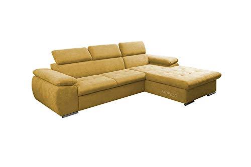 mb-moebel Ecksofa mit Schlaffunktion Eckcouch mit Bettkasten Sofa Couch L-Form Polsterecke NILUX (Gelb, Ecksofa Rechts)