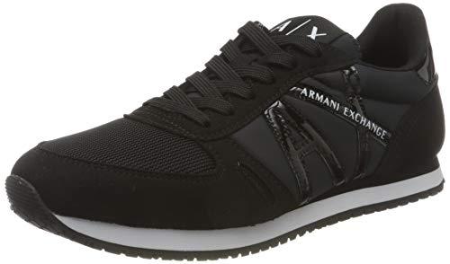 Armani Exchange Damen Retro Running Sneaker, Schwarz, 39 EU