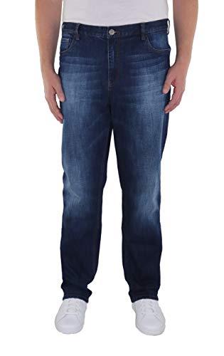 Herren 5-Pocket Jeans in Tapered Form in Den Größen 60, 62, 64, 66, 68, 70, XL, XXL, 3XL, 4XL, 5XL, 6XL, Große Größen, Übergröße, Big Size, Plus Size, Dark Blue Stone Washed, 68
