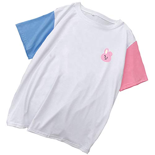 Silver Basic Camiseta de Moda de Mujer BTS Lindos Estampados de Animales Camisetas de Manga Corta Blanco-2 M