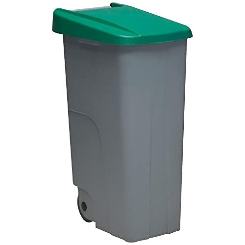 Denox DEN032 Contenedor Reciclo 110 litros Cerrado, Verde, 420x570x880 mm