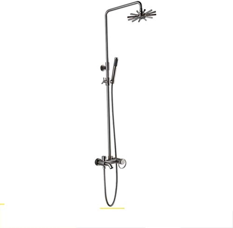 GZF mischbatterie für Dusche,Duschset, Hochwertiges Kupfer, galvanisch gebürstet, Regendusche, Wandbehang, Badartikel