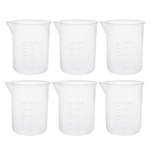 Vasos medidores 50ml PP Vaso de precipitados graduado de plástico transparente para líquidos de cocina de laboratorio 6pcs
