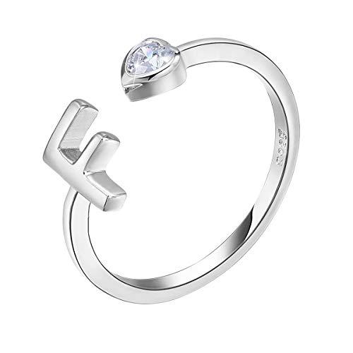 PEARLOVE Anello da donna e ragazza, in argento Sterling 925, regolabile, per iniziali da donna, impilabili, dalla A alla Z. e Argento, regolabile, colore: f