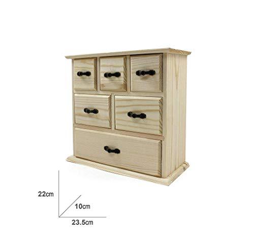 takestop® commode met 6 laden, 22 x 23,5 cm, houten kist, opbergdoos, decoupage, minitas, sieradendoos, bureau, accessoires