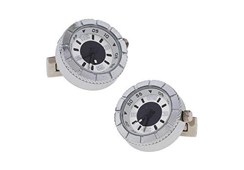 QYY Gemello Francese Orologio elettronico High-Tech Rotondo Spilla per gemello in Acciaio Bianco Placcato