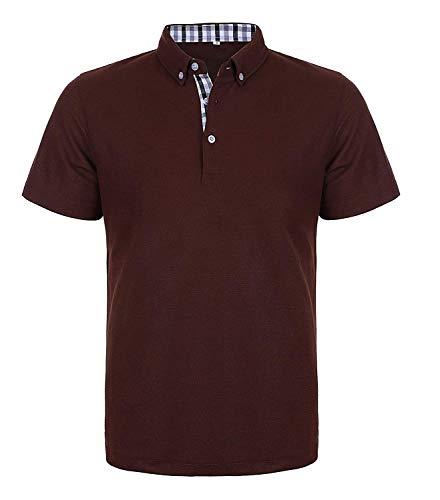 COOFANDY Herren Poloshirt Einfarbig Kurzarm Polohemd Freizeit Basic Polo Shirt Kontrast Sommer T-Shirt Polokragen