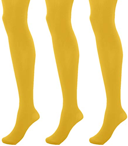 Pretty Polly Damen 60d Coloured Opaque Tights Strumpfhose, 60, Gelb (Yell Yellow), Large (3er Pack)