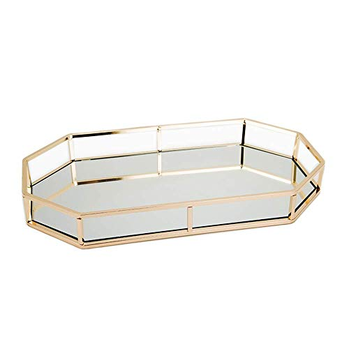 bandeja ornamentada, Bandeja decorativa de espejo dorado con bandeja de perfumes, tocador, organizador de joyas decorativas de metal, bandeja de maqui