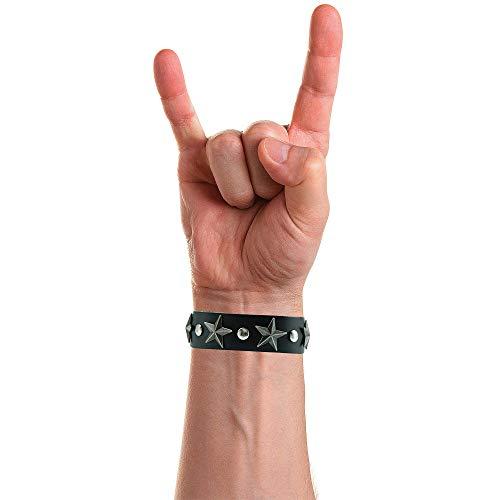Heavy-X Pulsera de Cuero Hombre Rock, Tachuela Piel Brazalete de Moda Casual Personalidad Retro, Punk Roccia con Remache Ajustable [Negro]