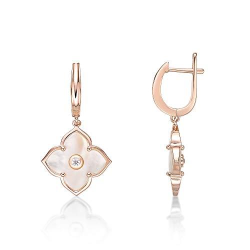 Lavari Jewelers - Pendientes colgantes con forma de flor de ónix negro para mujer con circonita cúbica en plata de ley 925 con bisagras, Plata de ley Circonita cúbica, nácar circonita,
