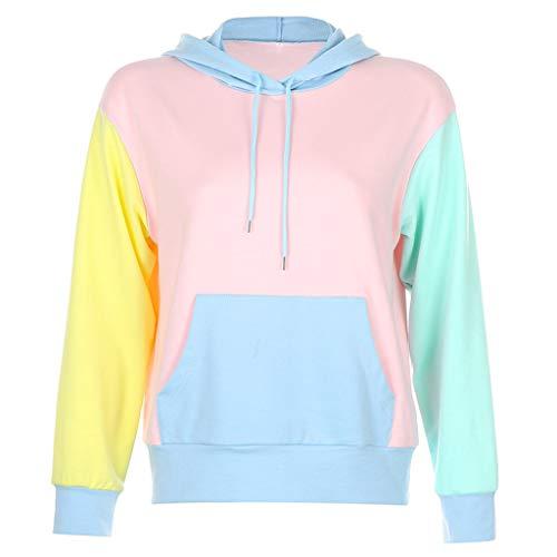 Sweat-Shirt Ado Fille à La Mode Femmes à Manches Longues Sweat à Capuche Tops Chemisier Bloc de Couleur Pull Sweat Tops Pas Cher Chemisier Pullover Sweat Shirt Tee Shirt Robe Streetwear