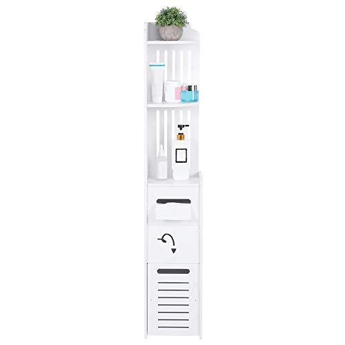 Cocoarm Toilettenrollenhalter Toilettenpapieraufbewahrung Badregal Toilettenschrank Multifunktionsschicht Vertikaler Lagerregal Regal Schrank Organizer für Badezimmer Küche, 120 x 22 x 20 cm