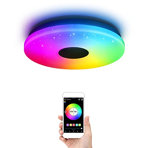 OFFDARKS Iluminación de techo de interior LED moderna, control de WiFi/aplicación Lámpara de techo compatible con Alexa y Google Assistant, RGB, atenuación φ28cm 36w…