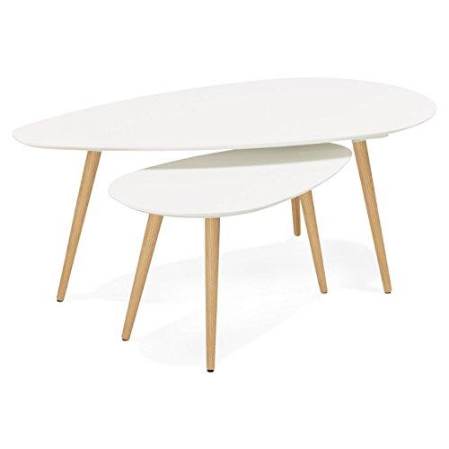 MK Tables Basses Design ovales gigognes Golda en Bois et chêne Massif (Blanc)