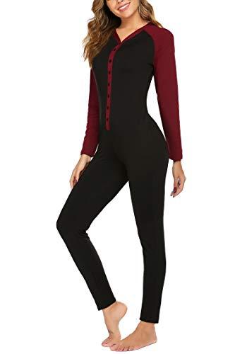 Hotouch Womens Thermals Adult Onesie Henley Thermal Underwear Union Suit PJ's Sleepwear for Women Black