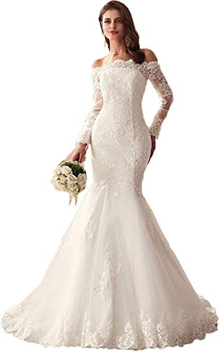 Melisa Off The Shoulder Long Sleeves Lace Mermaid Wedding Dress for Bride with Train Tulle Elegant Bridal Ball Gowns Ivory