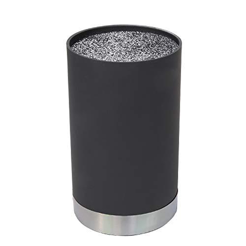 Mack Universal Messerblock | Schlichtes Design 22 cm hoch, Ø 11 cm in schwarz | Borsteneinsatz herausnehmbar | Unbestückt