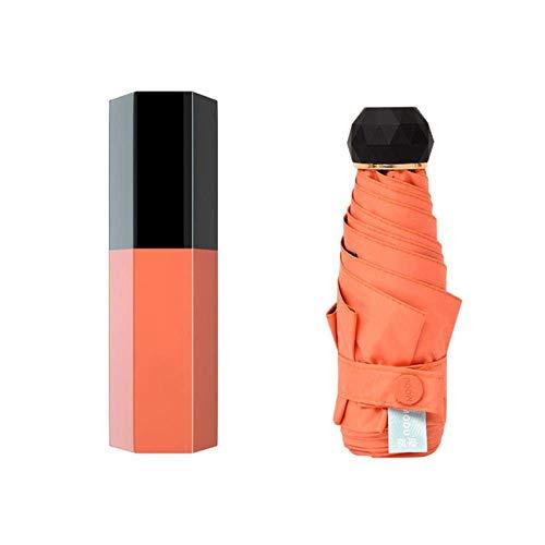 Capsule paraplu 5-vouwen Regen en zon Black zonnebrandcrème coating Lipstick paraplu vouwen vrouwen zak Umbrellara, Rode wijn WKY (Color : Orange Lipstick)