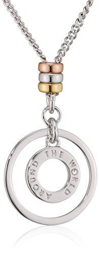 Guess Damen-Kette mit Anhänger Around The World Halskette Edelstahl 40 cm-UBN61010