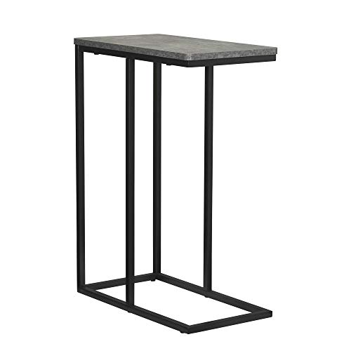 Household Essentials Slate Industrial Narrow End Table | Metal C Shaped Frame and Rectangle Faux Concrete Top | Grey
