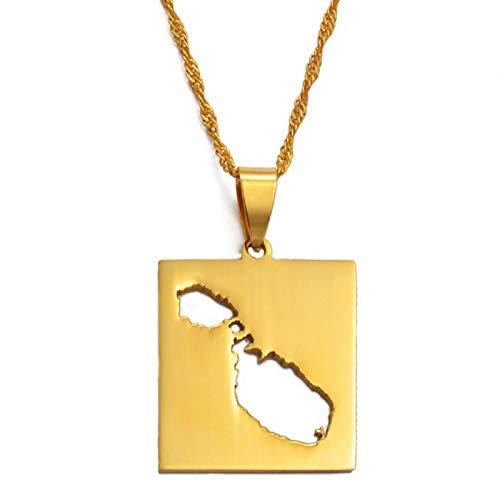 Collar Colgante Unisex,Collar De Encanto Mapa De Malta Para Mujeres Hombres, Cadena De Joyería De La Suerte Personalizada - Regalo Del Día De La Madre - Parejas Accesorio De Fiesta De Novia - China
