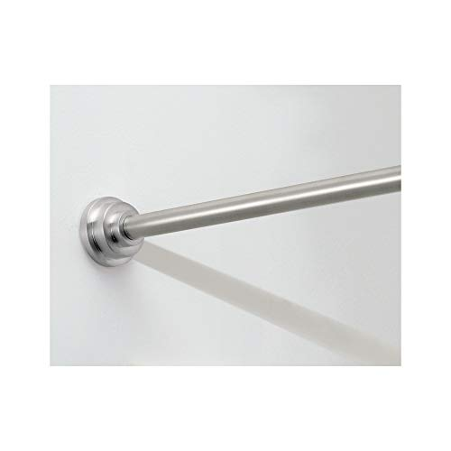 iDesign Astor Metal Tension Rod, Adjustable Customizable Curtain Rod for Bathtub, Shower Stall, Closet, Doorway, 26-42 Inches, Brushed Stainless Steel