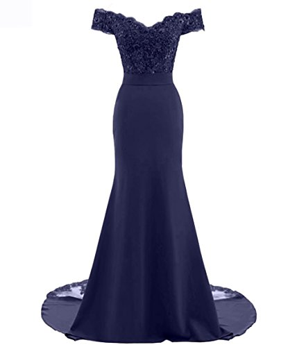Fitty Lell Women's Sweetheart Mermaid Bridesmaid Dress Off The Shoulder Long Evening Dress(US18 Plus,Navy Blue)