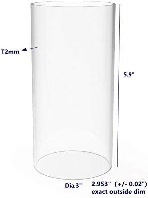 5//64 2mm FixtureDisplays Clear Acrylic Tube 3 Diameter x 12 Long Wall 15140-12-1PK-NF No