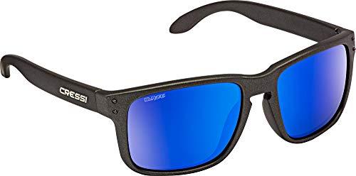 Cressi Blaze Sunglasses Gafas de Sol HTC polarizadas y repelentes al Agua, Adultos Unisex, Carbón/Espejadas Lentes Azul, Talla única