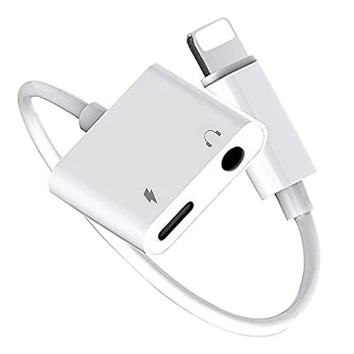 [2 en 1] Adaptador de Auriculares para iPhone, [MFi Certificado] Divisor de Cable de Audio Auxiliar Lightning a Conector de 3,5 mm para iPhone 12/11/7/8P/X/XS/XR Compatible con Todos los Sistemas iOS
