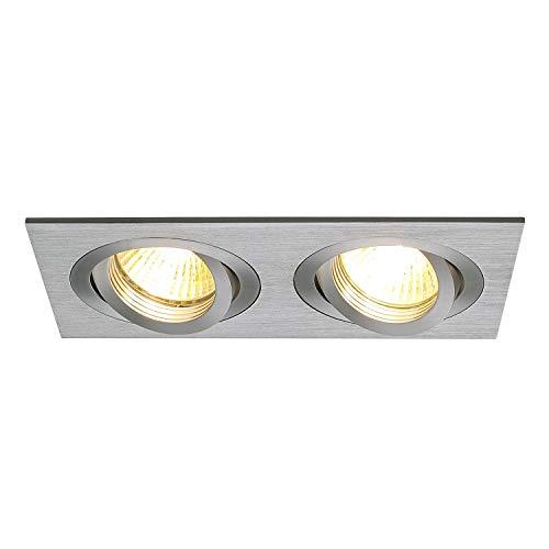 SLV Deckeneinbauleuchte NEW TRIA 2 / Spot, Fluter, Deckenstrahler, Deckenleuchte, Einbau-Leuchte LED, Innen-Beleuchtung / GX5.3 50.0W aluminium