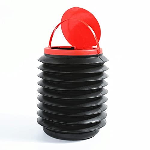 Deliu Barril de Almacenamiento Plegable 4L con Tapa Cubo de Basura para vehículos Cubo telescópico de Emergencia Multifuncional Rojo + Negro