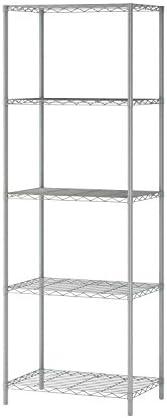 "JEROAL 5-Tier Wire Shelving, Metal Wire Shelf Storage Rack, Storage Organizer Unit Perfect for Kitchen Garage Pantry Organization in Grey, 21'W x14"" D x 61"" H"