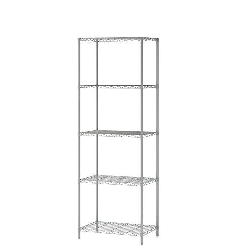 JEROAL 5-Tier Wire Shelving, Metal Wire Shelf Storage Rack, Durable Organizer Unit Perfect for Kitchen Garage Pantry Organization in Grey,21