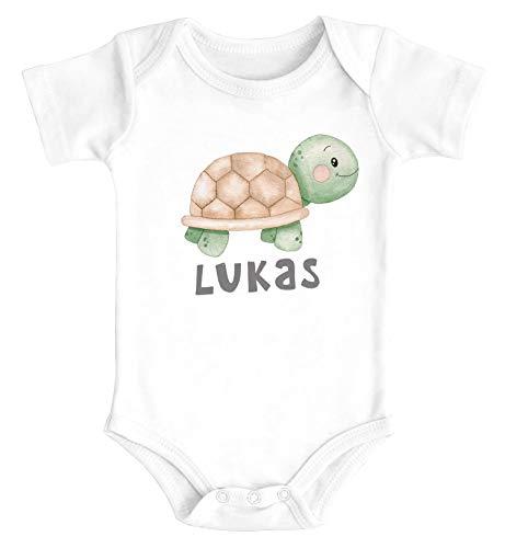 SpecialMe® Baby Body mit Namen Bedrucken Lassen Schildkröte Watercolor Kurzarm Bio Baumwolle weiß 0-3 Monate