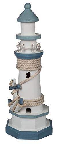 Unbekannt Leuchtturm Holz 29cm mit LED-Beleuchtung