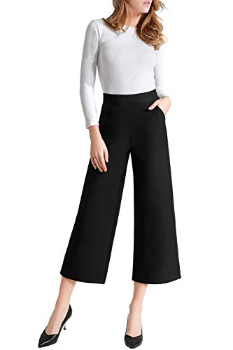 Tsful Women's Casual Loose Wide Leg Pants Pull On Dress Pant(Black,S)