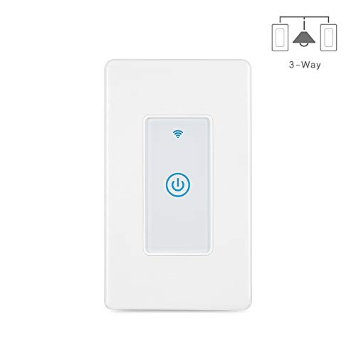 Esmlfe 3-Way Smart Light Switch(Only One Needed), WiFi Light Touch Switch Compatible with Alexa, Google Home and IFTTT, Easy and Safe Installation, No Hub Required
